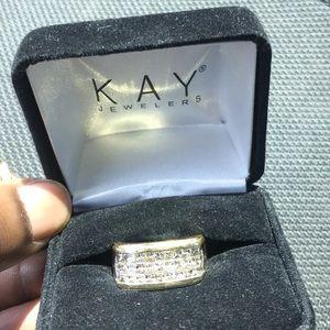 18kt solid gold 3row vvs1 Diamond ring